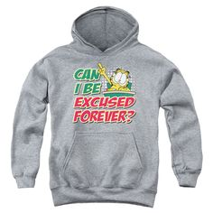 Garfield/Excused Forever Youth Pullover Hoodie in Heather Boy's