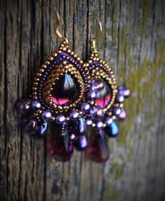 Purple earrings-bead embroidery earrings-beadwork от suzidesign