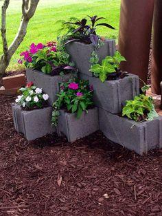 80 Awesome Spring Garden Ideas for Front Yard and Backyard DIY Garden Ideas. Garden Planters, Garden Art, Garden Design, Terrace Garden, Garden Paths, Cinder Block Garden, Cinder Block Ideas, Garden Ideas With Cinder Blocks, Cinder Block Fire Pit