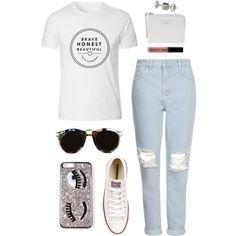 Brave, Honest, Beautiful by sam-isabella on Polyvore featuring Topshop, Converse and MANGO