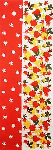Elegant Fall Tenuugi just arrived! Enjoy colorful Autumn colors with Momiji Composition tenugui. Just put it on your table as a table runner, will make a great Fall decoration for your room. This tenugui uses nassen method hand-dye.