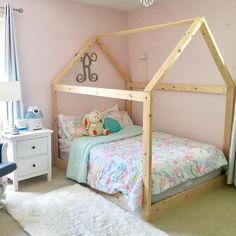 Toddler House Bed Frame + mattress slats Made in US Full Bed Frame, Diy Bed Frame, House Frame Bed, House Beds, Toddler House Bed, Full Size Toddler Bed, Toddler Rooms, Little Girl Beds, Wooden Bed Frames