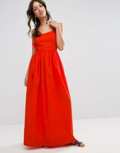 ASOS Cotton Open Back Maxi Dress