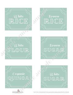 "Custom Printable Kitchen Pantry Home Labels ""Vintage Blue Collection"". $18.00, via Etsy."