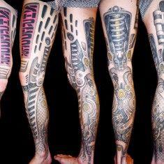 Delaine Gilma biomechanical tattoo on leg