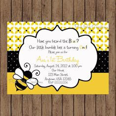 Bumble bee birthday party invitation bee hive birthday party theme bumblebee birthday invitation bee baby shower invitation bee birthday girl or boy filmwisefo