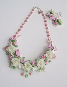 Beaded necklace and earrings with flowers Rose setPolymer by insou, $29.00