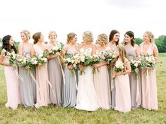 chic up How To Have A Glam Garden Chic Wedding In A Barn soft blush and light grey bridal party Garden Bridesmaids Dresses, Light Grey Bridesmaid Dresses, Pastel Bridesmaid Dresses, Wedding Bridesmaids, Blue Bridesmaids, Grey Bridal Parties, Bridal Party Dresses, Bridal Party Color Schemes, Wedding Colors