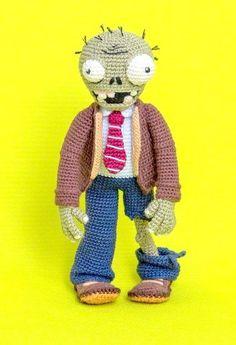 "Crochet Pattern of Zombie from ""Plants vs Zombies"" (Amigurumi tutorial PDF file) Halloween Toys, Halloween Crochet, Toddler Halloween, Crochet Baby Toys, Crochet Animals, Amigurumi Tutorial, Crochet Patterns Amigurumi, Zombie Dolls, Bear Doll"