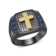 14k Black Gold GP 925 Silver Rd Blue Sapphire Men's Cross Ring 7 8 9 10 11 12 #aonedesigns #MensCrossRing