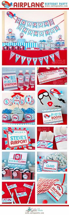 Avión paquete imprimible fiesta de cumpleaños e por OwliePowlie