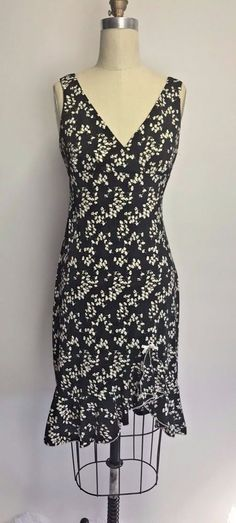 Vintage 90's Black Ditsy Floral Daisy Ruffle Bow Midi Slip Babydoll Dress M #CityTriangles #Slipdress #daytonight