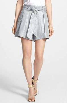 Vince Camuto Foiled Linen Paperbag Shorts (Petite) available at #Nordstrom