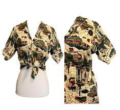 Barkcloth novelty print Button shirt 50s Tiki Souvenir Hawaii Tourist Atomic S M Rockabilly Men, 60s Mod, Novelty Print, Mens Xl, Button Up Shirts, Cotton Fabric, Vintage Clothing, Tops, Women