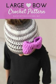 This large bow crochet pattern is so quick and easy! A great beginner crochet pattern, use it to make the perfect embellishment for any hat or headband.