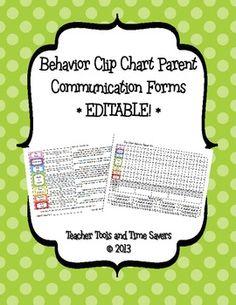*EDITABLE* Behavior 'Clip Chart' Parent Communication Form