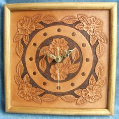 Desert Rose Hand Tooled Leather Clock (Small) £55.00