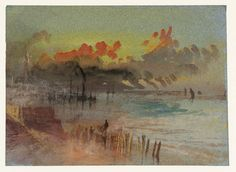 Margate Jetty      Sunset at Margate     A Rough Sea Beating against Margate Jetty,      Margate c.1830      Harbour Scene at Sunrise, pos...