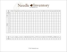 Needle Inventory (and other yarn art) Journal Templates