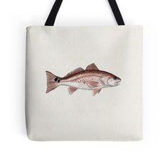 """""""Redfish"""" Watercolor Red Drum Fish Art • Tote Bag by Amber Marine"""