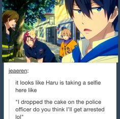((Haru, no more selfies with Makoto, Nagisa and Rin.))<- so true, but it works with it! Otaku Anime, Anime Boys, All Anime, Anime Stuff, Anime Life, Haikyuu, Nagisa Free, Saiunkoku Monogatari, Rin Matsuoka