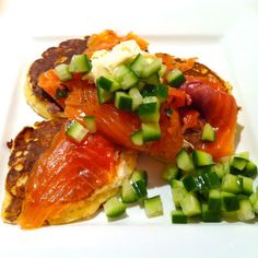 Aussie Mum in New York: Monday Suppers - Potato Pancakes with Gravadlax and Dill Cucumbers! Yum!