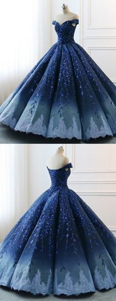 Navy Lace Applique Off Shoulder Ball Gown Princess Prom Dresses Navy Lace Applique Schulterfrei Ballkleid Prinzessin Abendkleider, Elegant Dresses, Pretty Dresses, Beautiful Dresses, Awesome Dresses, Short Beach Dresses, Spring Dresses, Spring Clothes, Off Shoulder Ball Gown, Dress Wedding