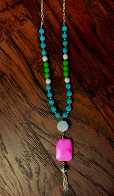 Funky Pink Jade and Turquoise Bead by DesignsbyDevraJewels on Etsy - $45