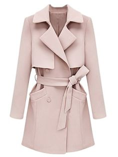 Shop Pink Lapel Trench Coat from choies.com .Free shipping Worldwide.