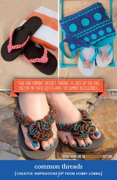 Pool ready? Craft one-of-a-kind flip-flops using a handful of plastic drapery rings and vibrant crochet threads. Dig that neon for summer!