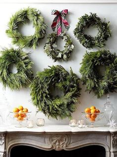 Holiday Mantel and Wreath Wall Design. Simple and Beautiful!        South Shore Decorating Blog: What I Love Wednesday