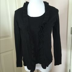 SPRING SALE 2 in 1 Top & Cardigan Color: black with metallic glitters. This style is 2 in 1, sleeveless with attached cardigan. Used once and in excellent condition. 40% cotton, 34% rayon, 13% polyester, 7% metallic, 6% wool. Charter Club Tops