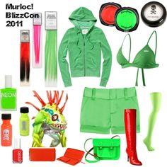 Murloc Costume idea. by disneyheart on Polyvore featuring moda, Victoria's Secret, Alice + Olivia, NIKE, Ultimate, Giuseppe Zanotti, Bohemia, Hot Topic, American Apparel and Essie