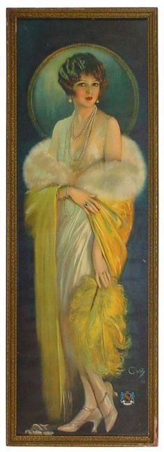This yard-long print pictures the Selz Good Shoes lady.  The picture, drawn by Howard Chandler Christy, was a shoe company premium in about 1920.  Rich Penn Auctions of Waterloo, Iowa, recently sold it for (34800)