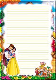 Printable Lined Paper, Free Printable Stationery, Disney Scrapbook, Scrapbook Paper, Disney Printables, Notebook Paper, Stationery Paper, Disney Crafts, Paper Envelopes
