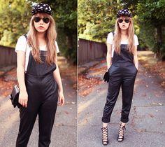 Stylenanda Cap, American Apparel Crop Top, Zara Heels, Nasty Gal Overall