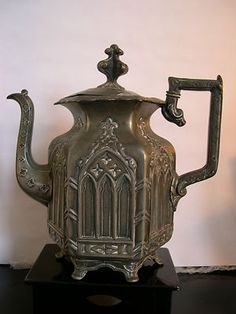 Pugin Style Gothic Revival Pewter Teapot Victorian Unusual Marks | eBay