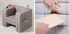 The the Lost In Sofa chair by design studio Daisuke Motogi Architecture. Items (remote controls, books, iPad, or whatever) can be safely into these little spots between the upholstered cubes that form the seat. (at Like Cool)