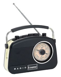 Known as the Baby Brighton, this Black Portable AM/FM retro radio comes with push button band selection and rotary dials for tuning, on/off, volume and tone controls. Classic ultra-compact design with AUX-in and Headphone Socket.
