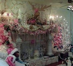Shabby Chic Victorian over the top pink Christmas mantle