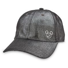[Sparkle plenty]Add a touch of allure to your all-star game wearing Mickey's metallic fabric baseball cap with a glittering graphite finish, and accented by a silvery embroidered filigree mouse icon.
