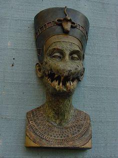 Horror Evil Egyptian Wall Display Creepy Mako Teeth by crankmaggot, $350.00