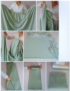 How to Fold a Fitted Sheet:  Fold the four corners into one another.  Two will fold inside out.  Lay it out flat and fold the rounded corners into the flat part of the sheet.  Still takes practice to master.
