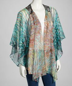 Take a look at this Teal Lace Open Cardigan by Ryu on #zulily today!