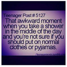 sweatshirt and pajama bottems. half of you is ready to go out and the other half is ready to go to bed