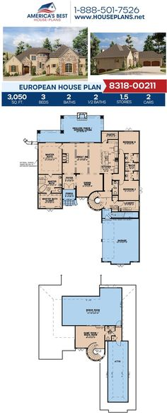 Covered in European details, Plan 8318-00211 features 3,050 sq. ft., 3 bedrooms, 2 bathrooms, 2 half bathrooms, a courtyard entry garage, a jack & jill bathrooms, front & rear porches and a kitchen island. #europeanhomes