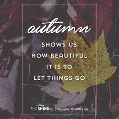 Autumn show us how beautiful it is to let things go.