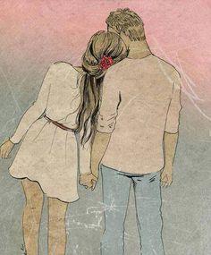 Como si fuera una de esas películas cursis que dan los viernes por la noche, donde el joven toma de la mano a la dama y la lleva por hermosos campos a ser feliz, Julián tomó la mano de Paz y la llevó silenciosamente a algún lugar que nadie hubiera adivinado. - Fotolog