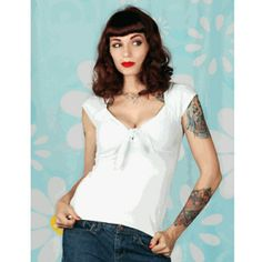 Pinup Rockabilly  Twist Tie Top Soft baby blue cotton with twist tie middle. Broad Minded Clothing Tops Blouses