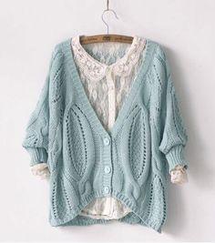 Image of Fashion Cream Twist Crochet Bat Sleeve knit &Cardigan
